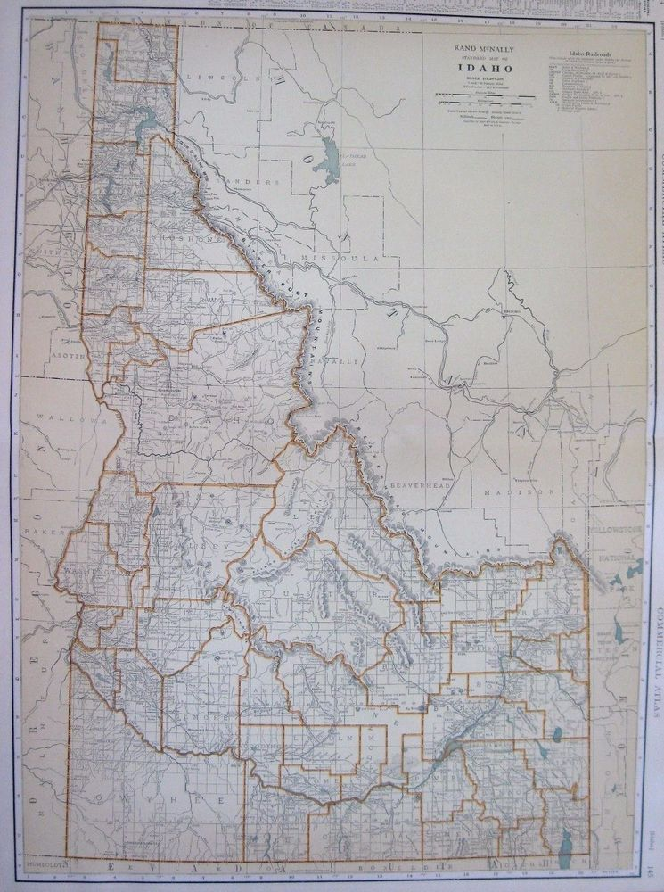 1932 RARE Antique IDAHO Map of Idaho RAILROADS Poster Print Rare