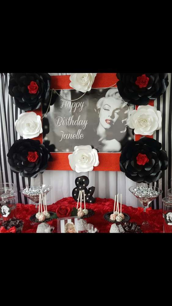 Marilyn Monroe Birthday Party Ideas Photo 1 Of 10 Catch My Party Marilyn Monroe Birthday Red Birthday Party Hollywood Birthday Parties