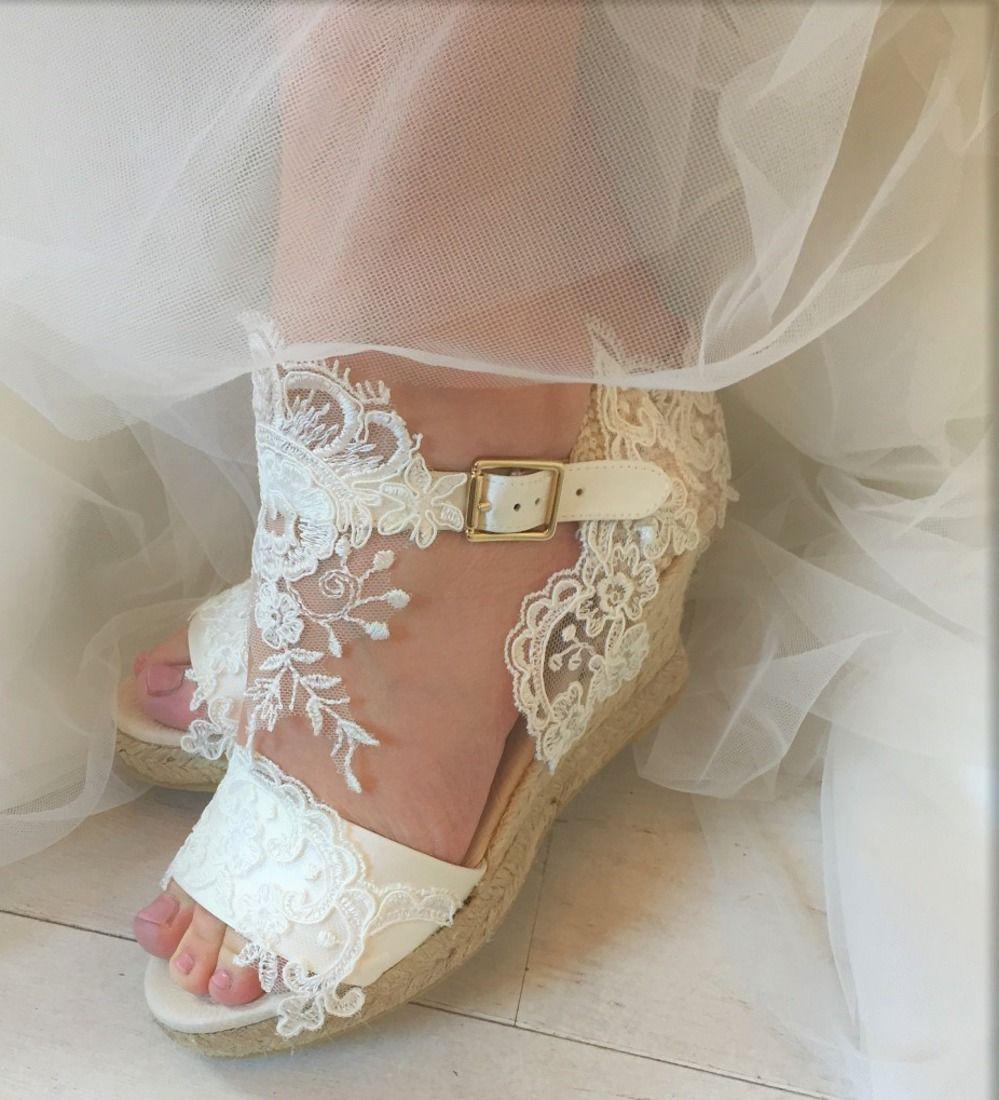 Bridal Shoes Boho: Espadrille Bruid Kant Sleehak Syttd Online Boho