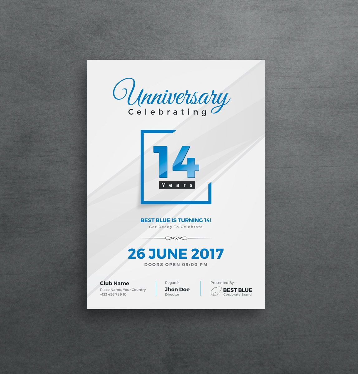 Artemis Stylish Anniversary Invitation Template With Images