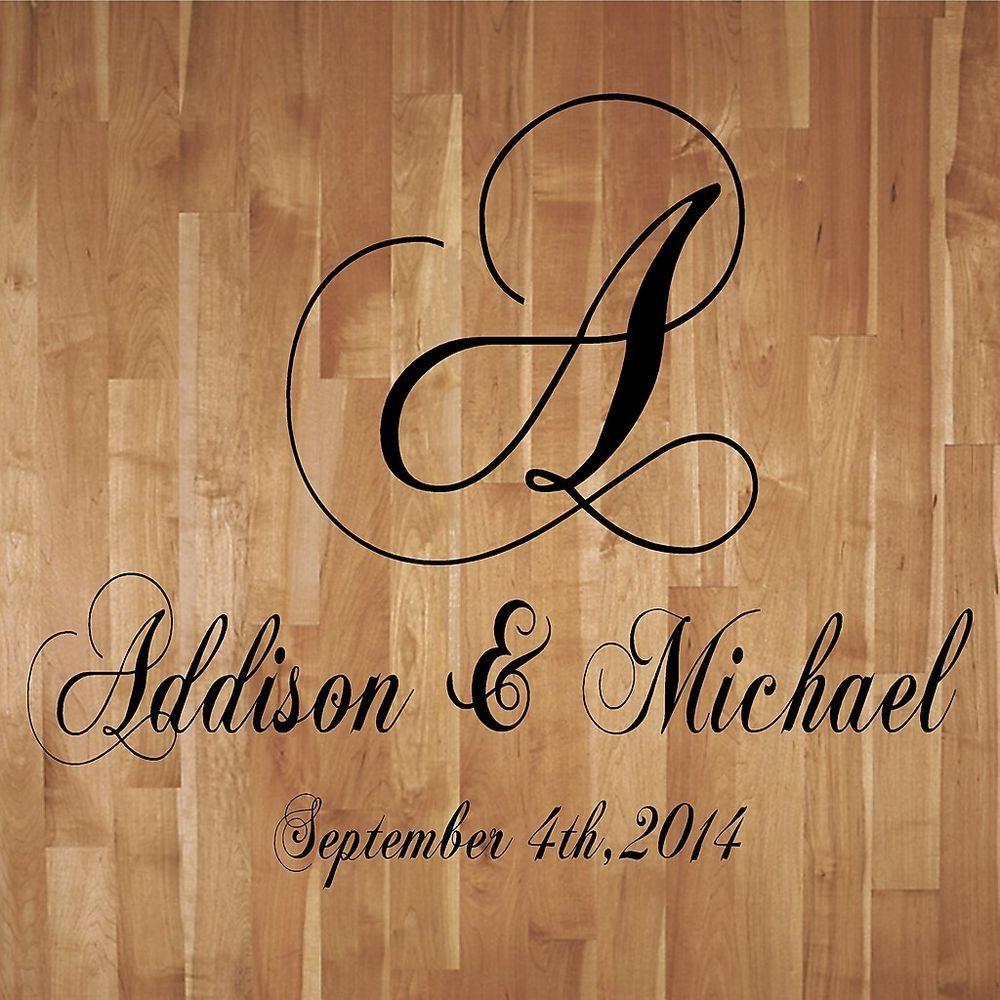 Wedding Monogram Dance Floor Decal Reception Vinyl Wall Decal Lettering Decor #Shabby