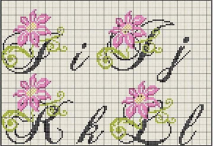 Abecedario Mayusc Minusc Flor Rosa Letras I J K L Alfabeto