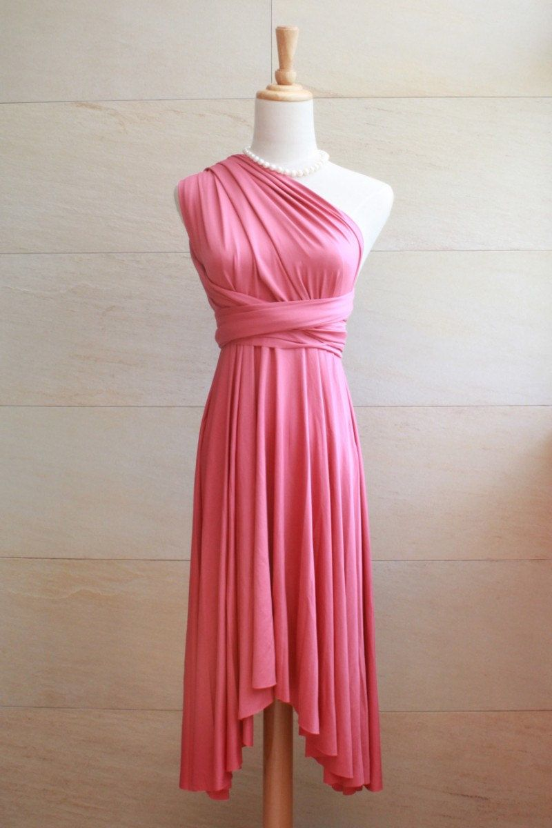 Bridesmaid Dress Infinity Dress Chilli Red Knee Length Wrap ...