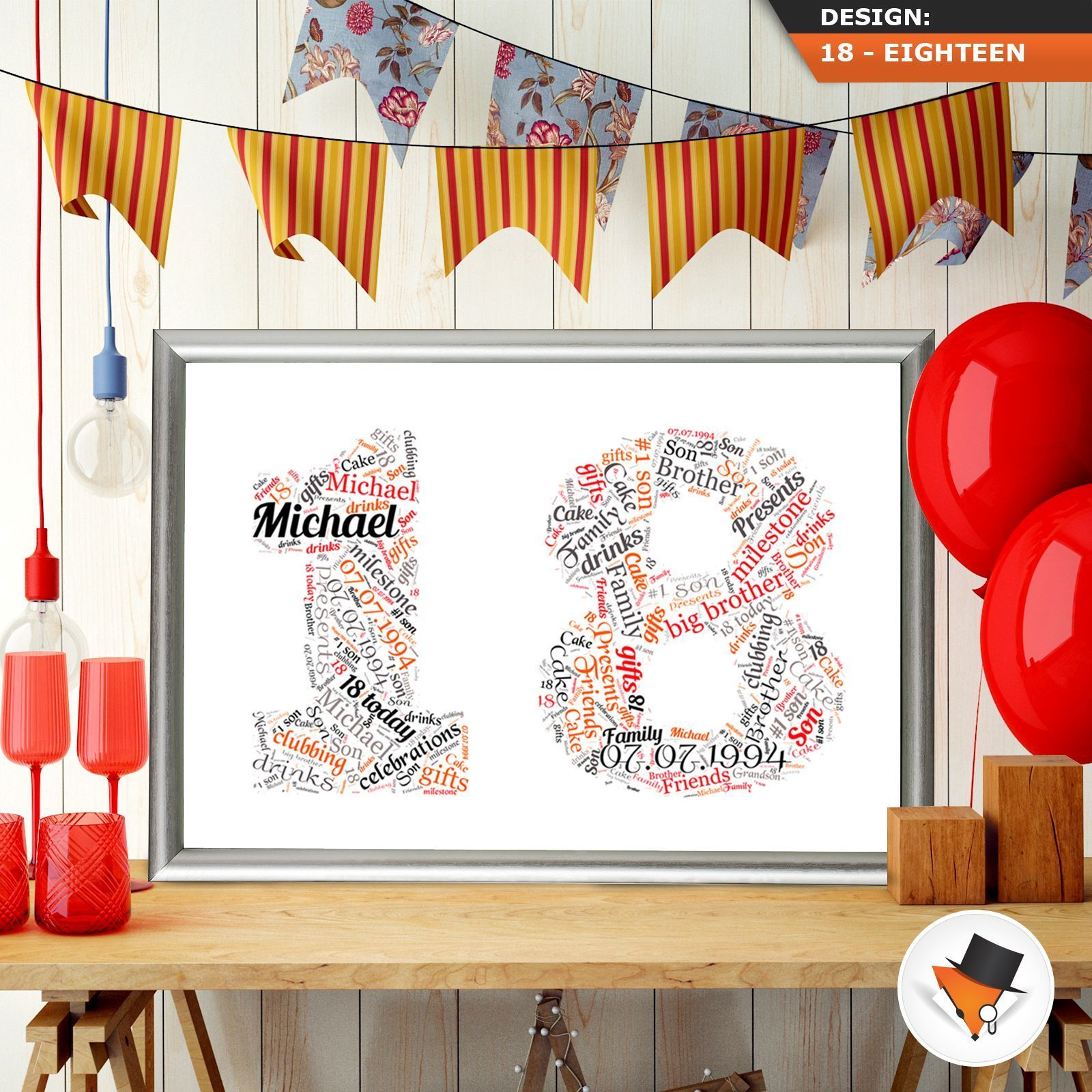 18th birthday word art personalised eighteen present any colours