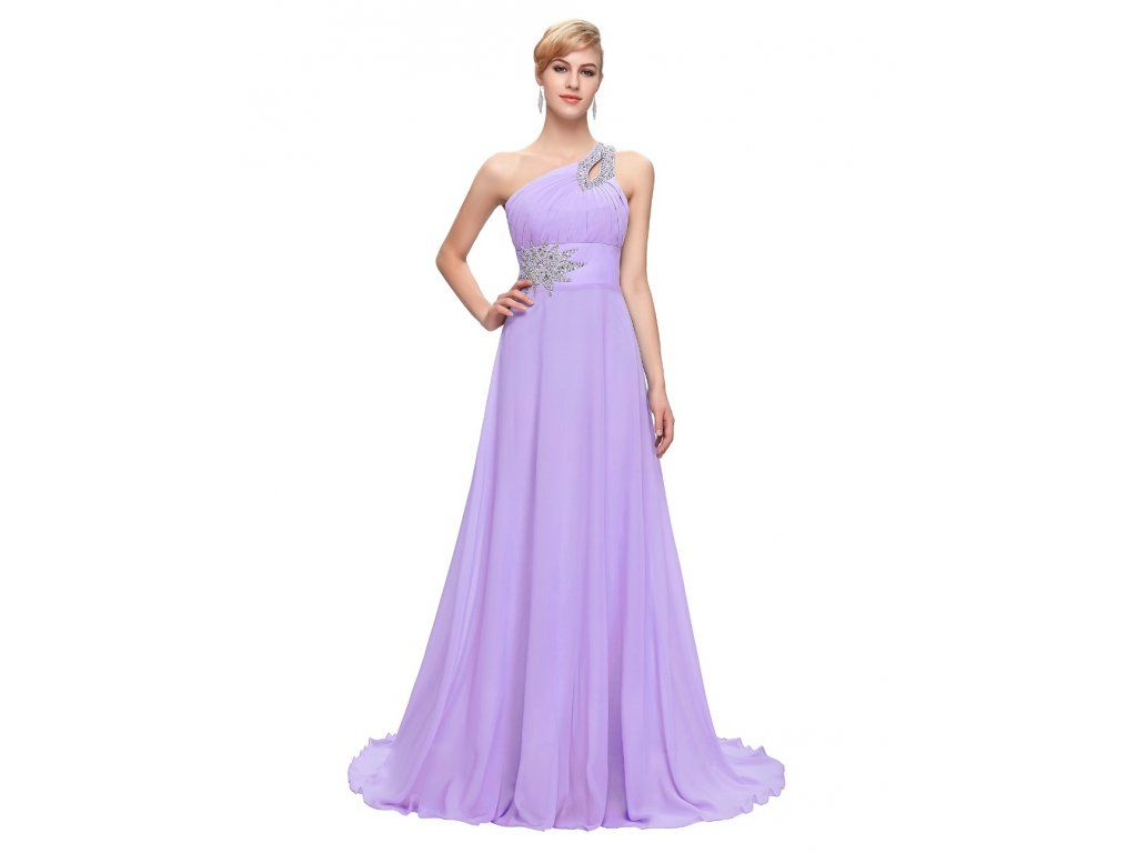 SPOLEČENSKÉ ŠATY GRACE KARIN SVĚTLE FIALOVÉ. Dlouhé fialové šifonové šaty  na jedno rameno. Vhodné 358350fb963