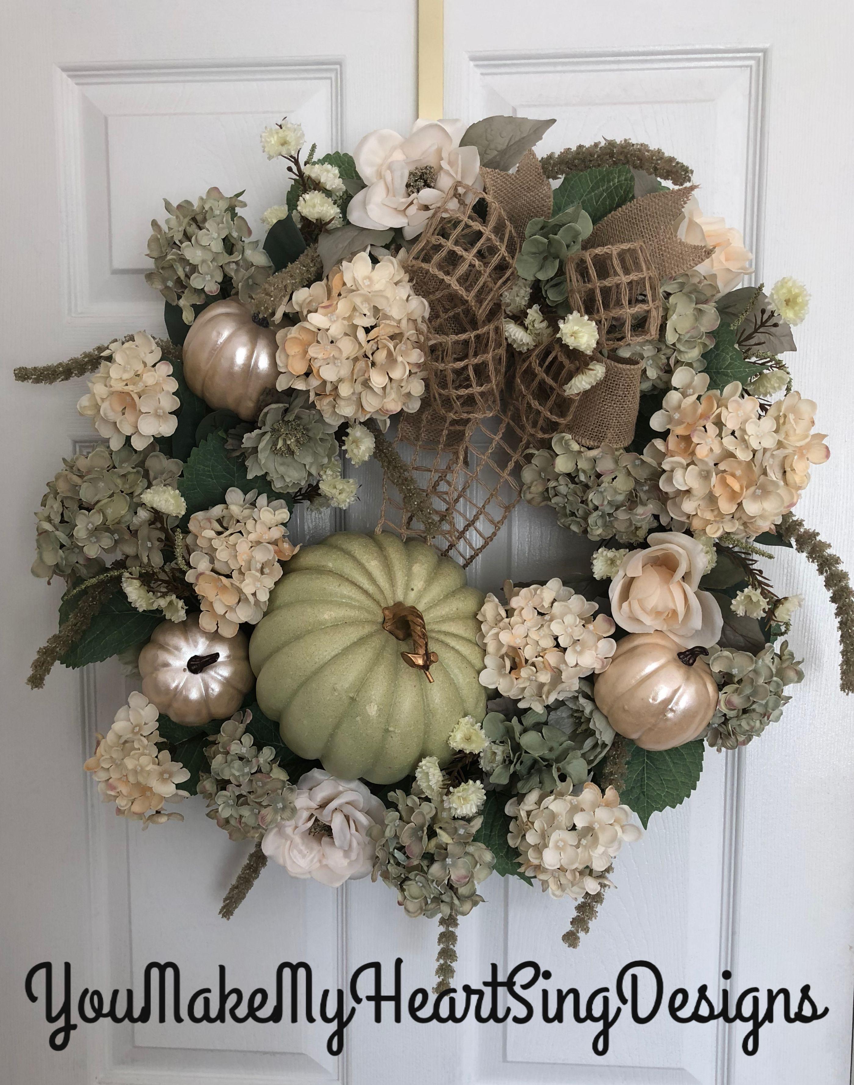 Non traditional fall wreath hydrangea fall wreath rose gold