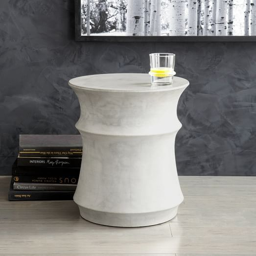 sculpted drum side table pale gray furniture pinterest