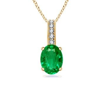 Angara Oval Emerald Solitaire Pendant with Diamond GSK3OS1