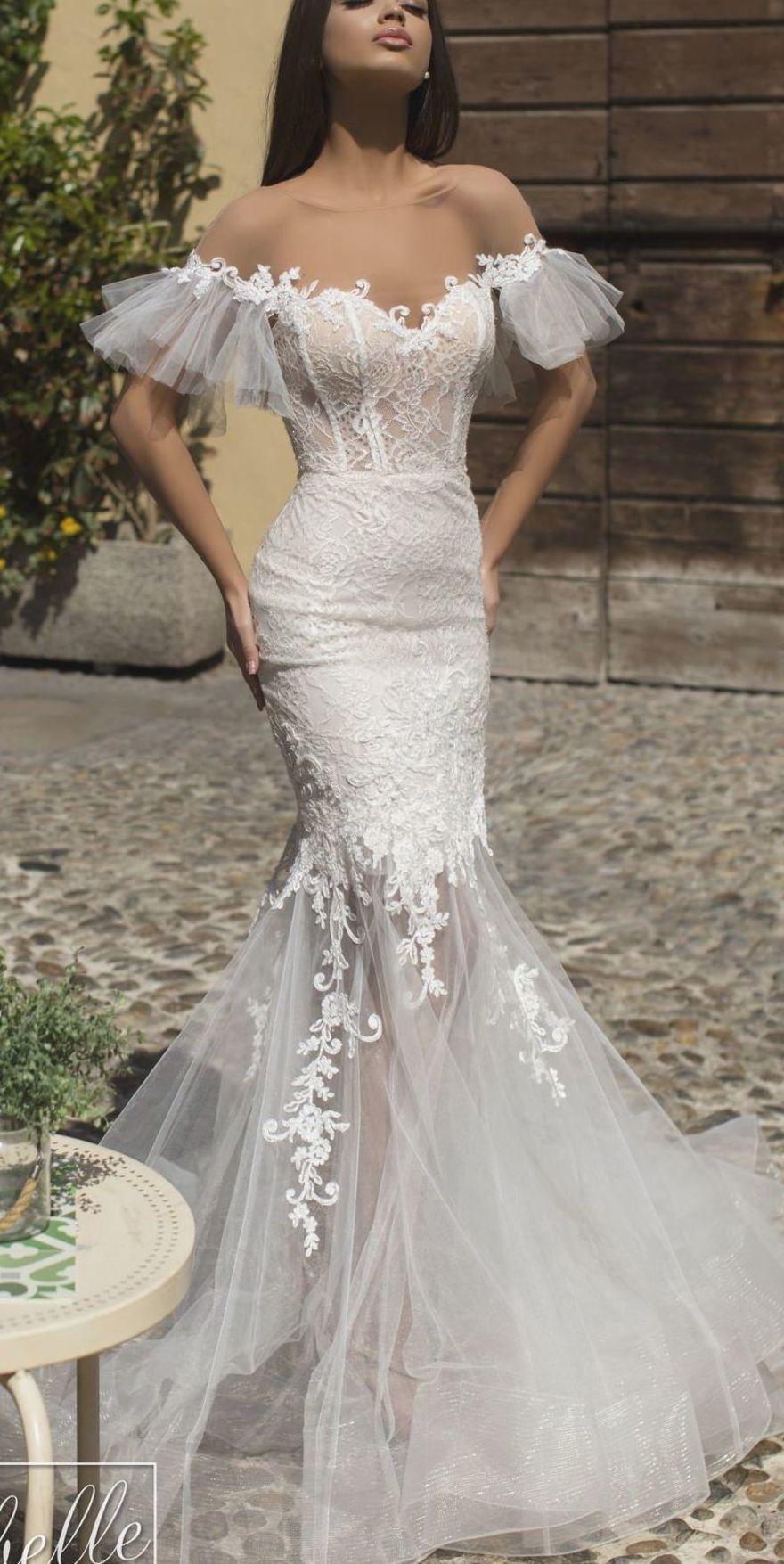 Wedding Dresses 2019 - The White Bridal Collection. Mermaid lace wedding dress with tulle skirt