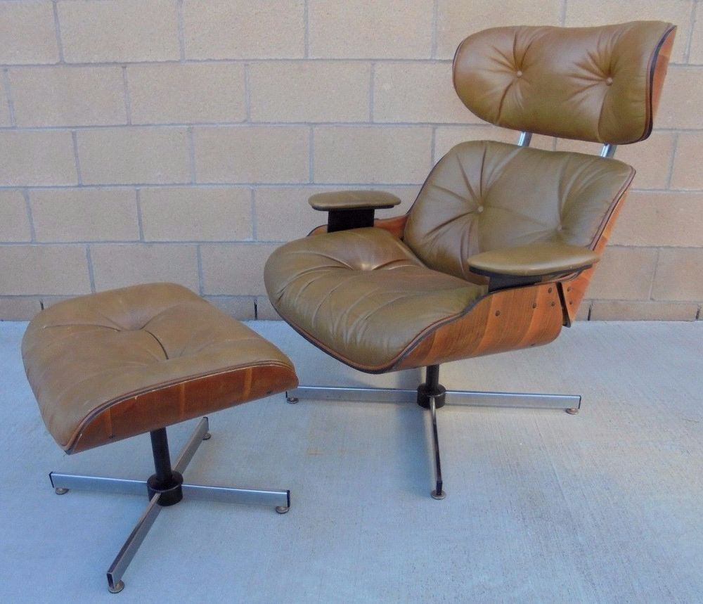 mid century modern eames style leather lounge chair ottoman frank