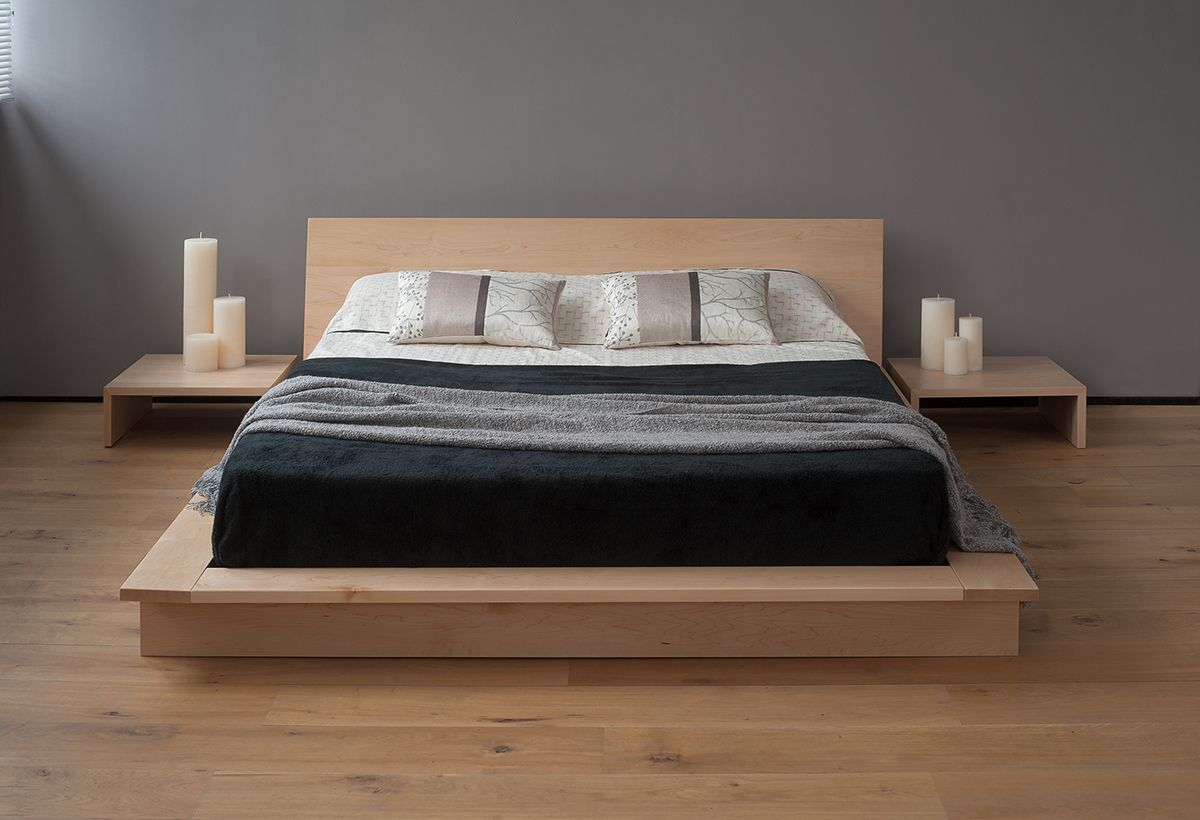 Minimalist bed frame design - Oregon Low Platform Bed Solid Wood Natural Bed Co