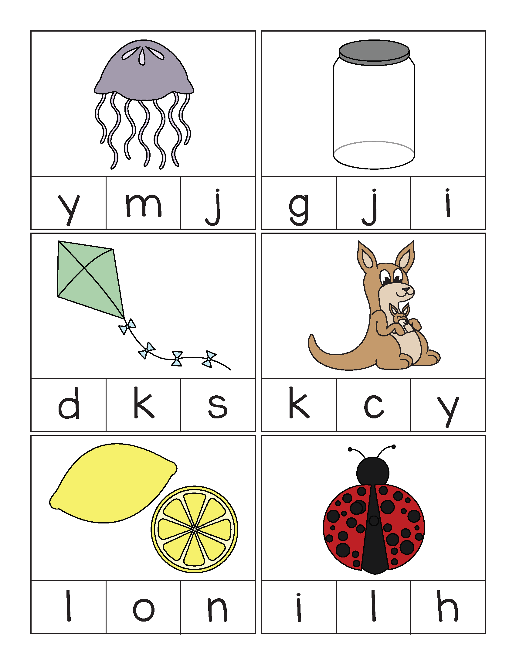 Beginning Sounds Alphabet Clip Cards