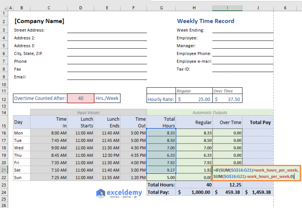 Excel Formula To Calculate Hours Worked And Overtime With Template Excel Formula Excel Templates
