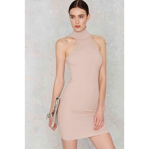 Cashin' Necks Sleeveless Dress (144.900 COP) ❤ liked on Polyvore featuring dresses, beige, pink midi dress, pink dress, turtleneck midi dress, midi dress and pink bodycon dress