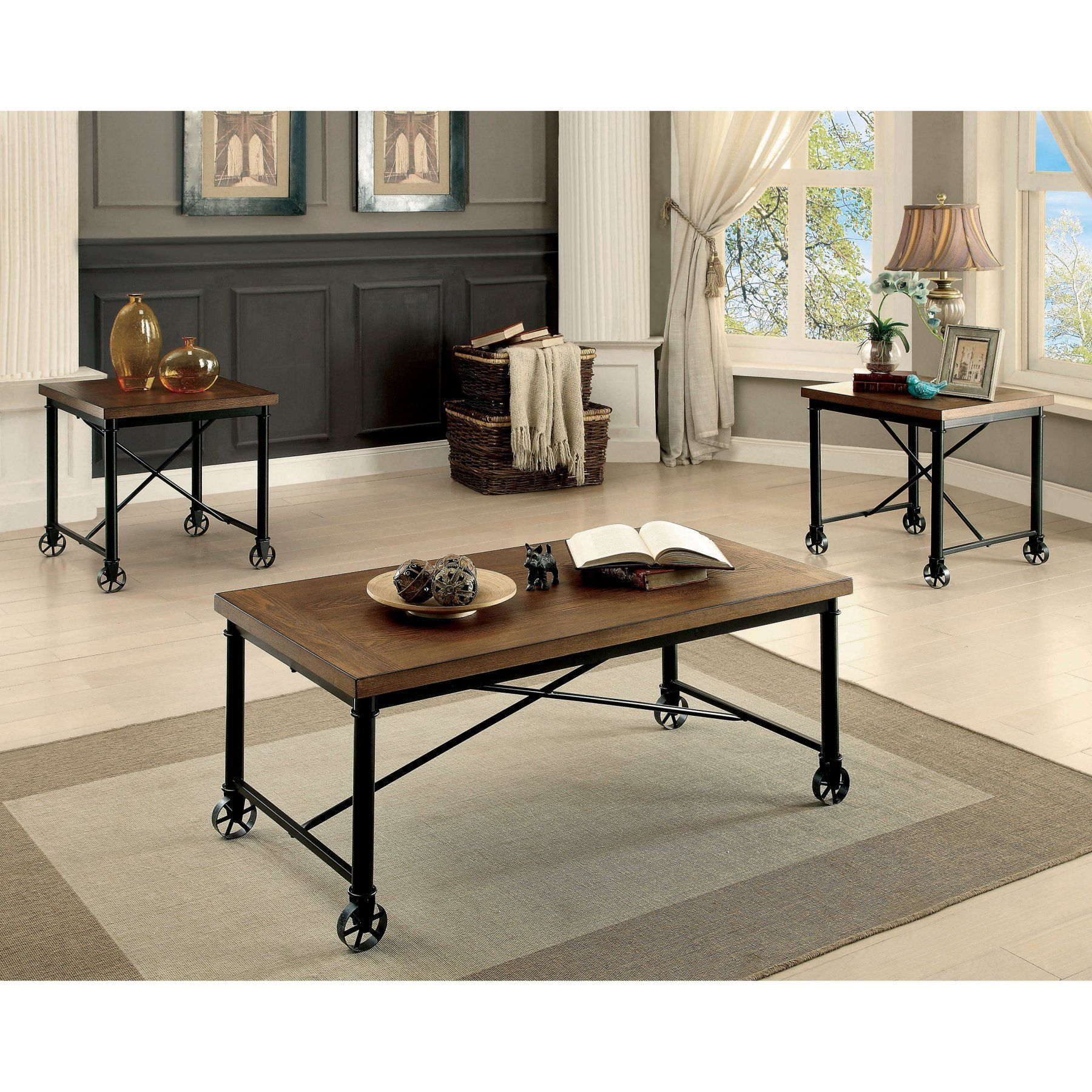 Furniture of America Hangrin 3 Piece Coffee Table Set IDF 4117