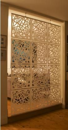 modern room divider laser cut panels with simple hardware