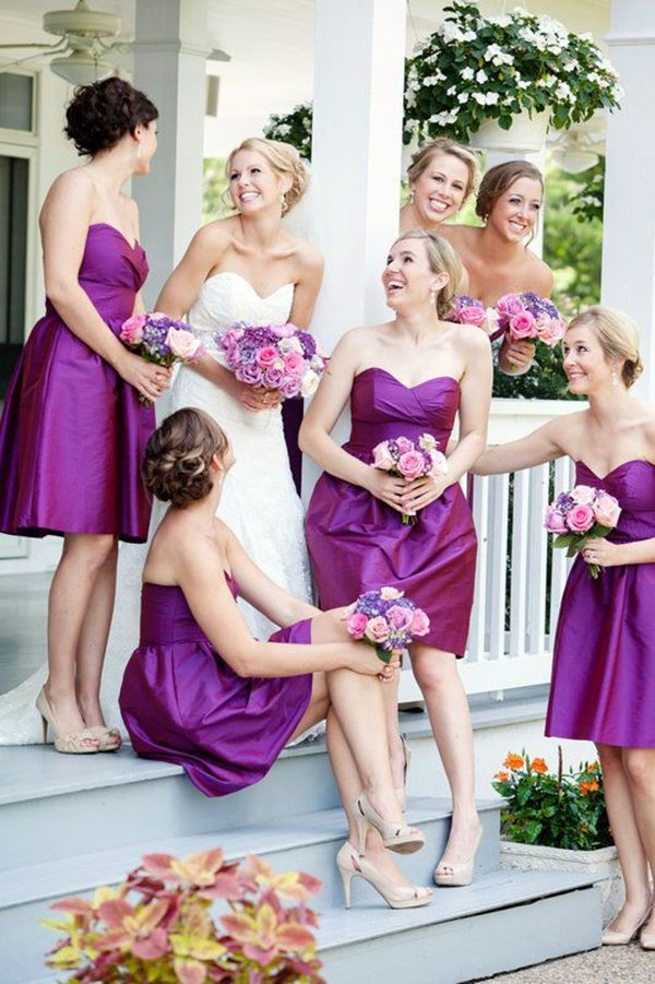 Cute picture and great dresses! | Purple Weddings | Pinterest ...