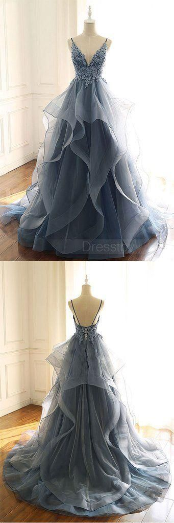 Prom Dresses Beautiful, Gray blue tulle lace long prom dress, blue evening dress 3