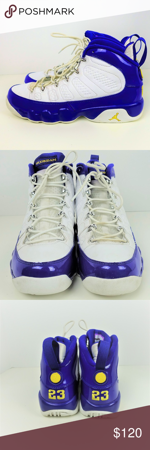 0cfa38a5b37d9 Nike Air Jordan Retro IX 9 Kobe Bryant PE Concord Nike Air Jordan Retro IX  9 Kobe Bryant PE Concord Purple White Yellow Size 7 Box is included No  rips