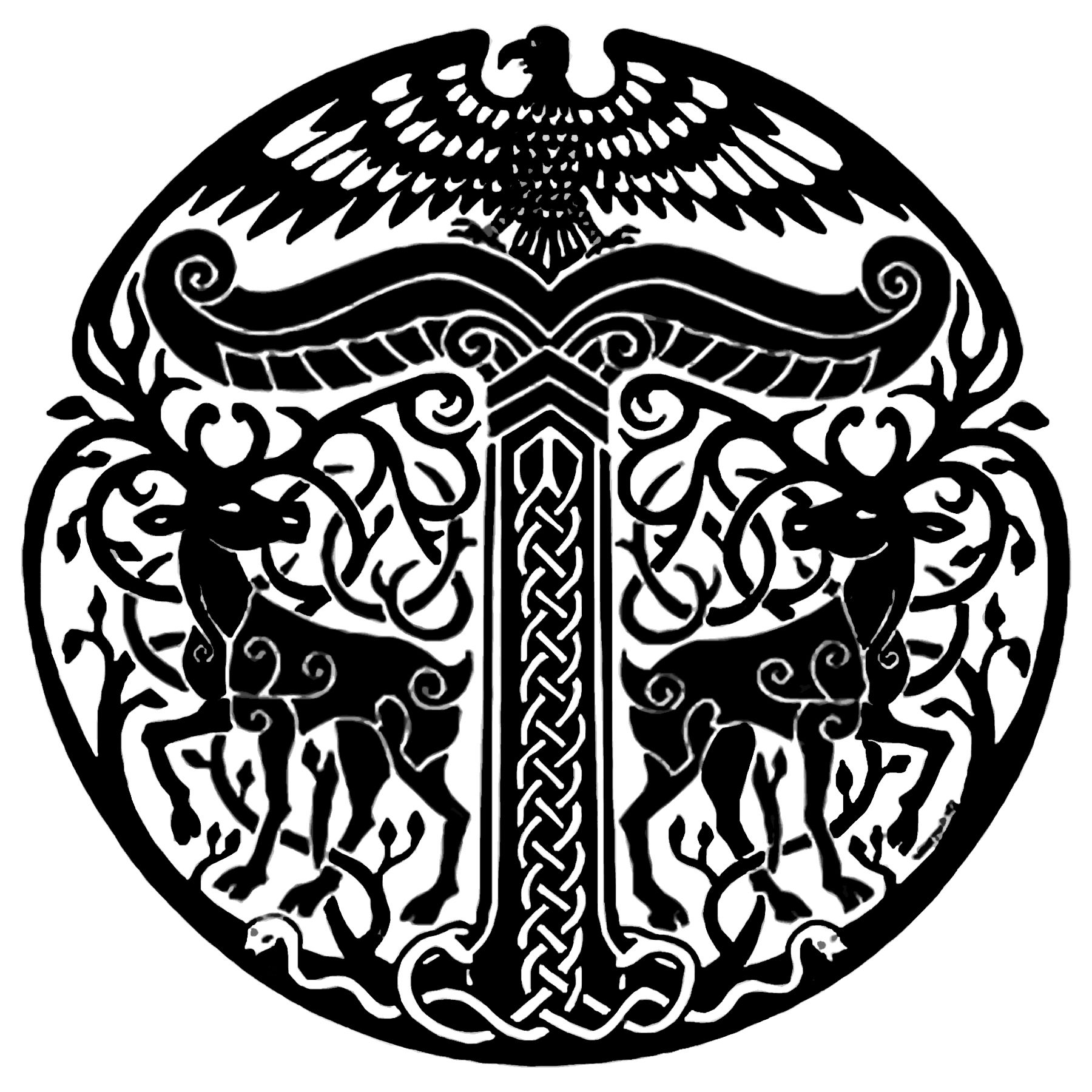 A rather nice irminsul just because pinterest nice and tattoo the symbol of the irminsul of the pagan german tribes notice the two stags flanking it while sitting on top is a bird of preymaybe a turul bird buycottarizona Images