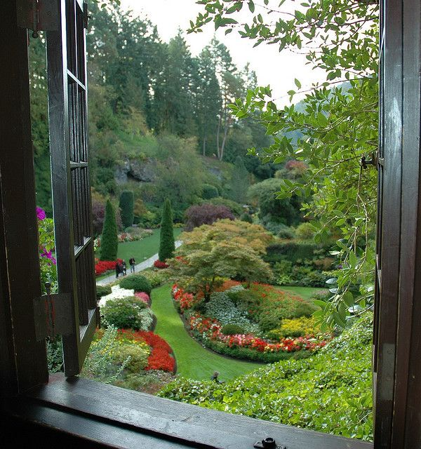 Window To The Butchart Gardens By Malcolm Mac Bride Public
