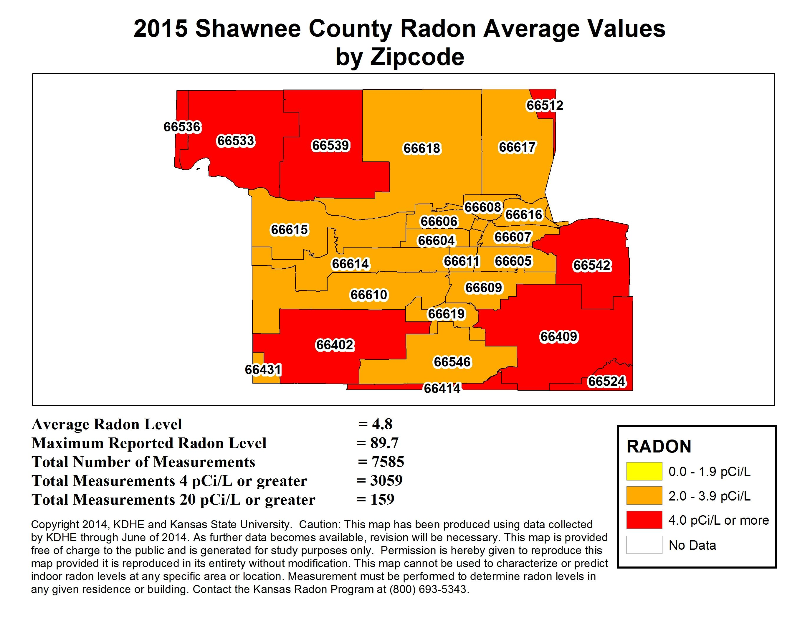 shawnee zip code map In Shawnee County The Average Radon Levels Are 4 8 Pci L Radon