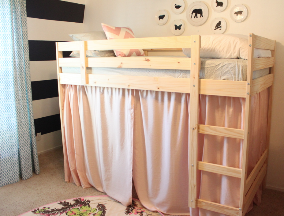 Bunk Bed With Room Under tenting the loft bed! we needed 6 yards of fabric we used