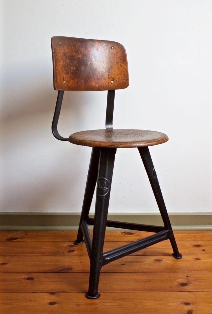 Rowac Werkstatt Stuhl Bauhaus Industrie Design Machinist Vintage Chair Vintage Stuhle Stuhle Bauhaus