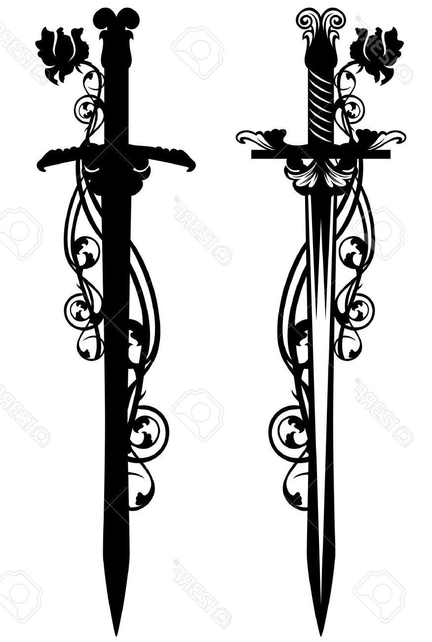 Best 15 Ancient Sword Among Rose Flower Stems Black And White Vector
