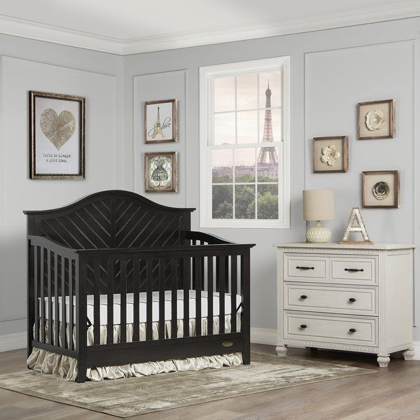 The Dream Me Ella 5 in 1 Convertible Crib offers a timeless