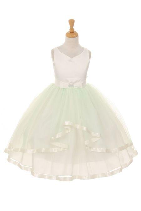 31b99b0446 Mint Satin   Tulle Double Layer Skirt Flower Girl Dress KK-2072-MT on  www.GirlsDressLine.Com