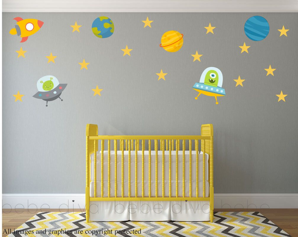 Outer Space Wall Decals, Wall Decals Nursery, Baby Wall Decal, Kids ...