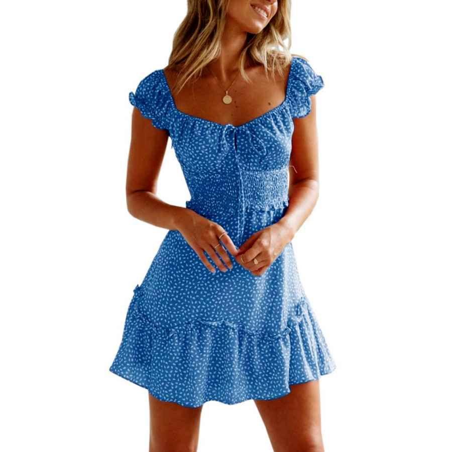 Casual Dresses Yobecho Summer Ruffle Sleeve Sweetheart Neckline Printing Dress Mini Dress Dame Vintage [ 900 x 900 Pixel ]