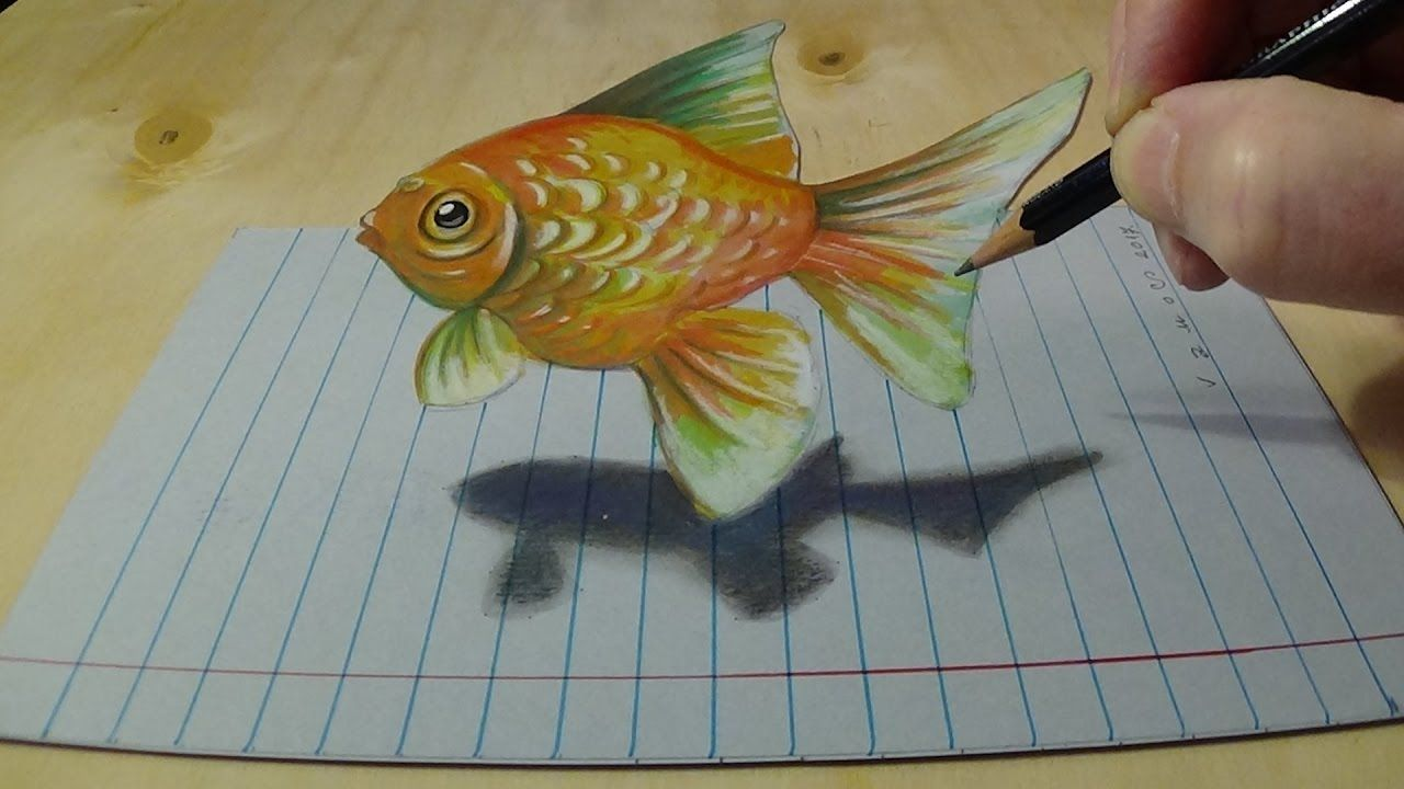 3d Drawing On Lined Paper : Zeichnung goldfisch auf lined paper d anamorphic art painting