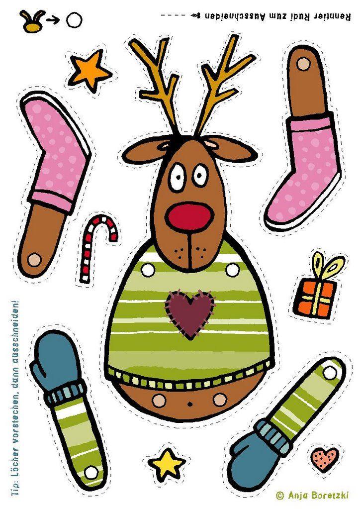 Free printable reindeer rudolph template for kids free - Bastelvorlagen kindergarten ...