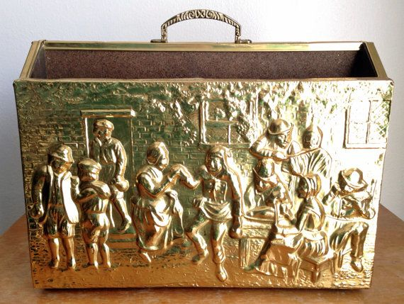 Vintage Embossed Hammered Brass and Wood Magazine Holder - Double Slotted Magazine  Rack with Brass Handle