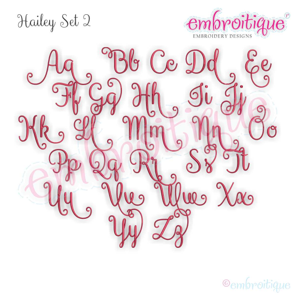 Alphabets - Embroidery Fonts :: Hailey Monogram Set 2 - Curly Swirly ...