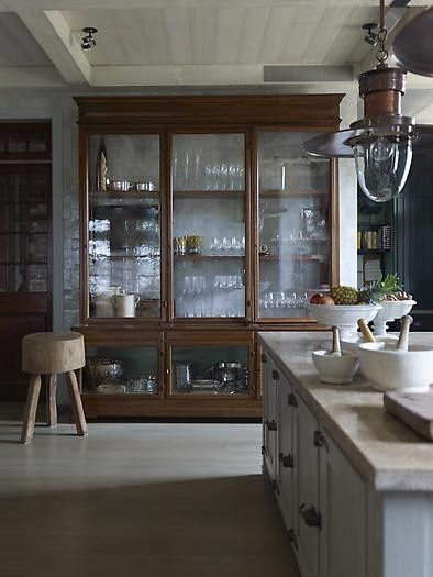 Peonies and Brass old school china cabinets in the kitchen