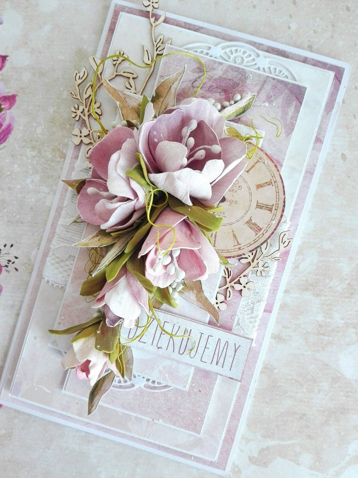 Witajcie Koniec Roku Szkolnego Juz Wkrotce Z Tej Okazji Chce Pokazac Wam Kartke Dla Przemilej Nauczycielki Pani Aliny Flower Cards Floral Cards Wedding Cards