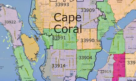 Cape Coral Zip Codes Cape Coral Lee County Florida