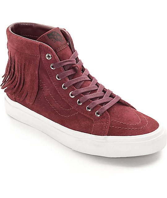 Keep your style fresh and your feet comfortable in these port royale Sk8-Hi  Moc s for women by Vans. A killer fringe is added to the top collar to give  this ... 8810b429a7