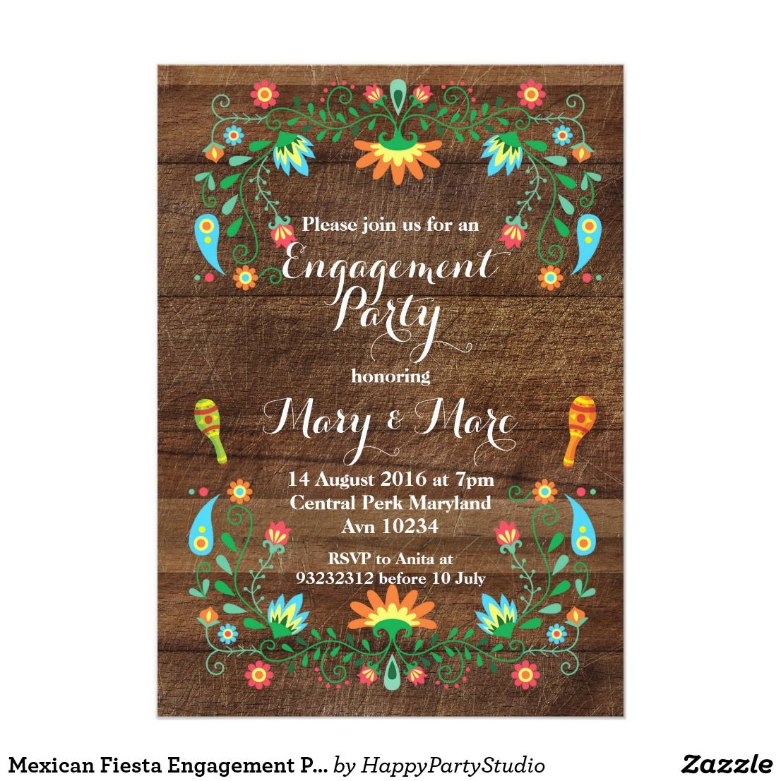 Mexican Fiesta Engagement Party Invitation Engagement Party