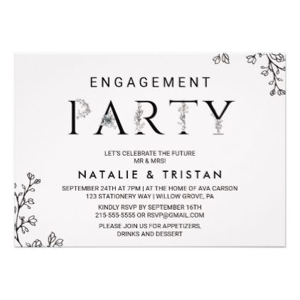 Floral Typography Engagement Party Card Engagement, Engagement - engagement party invitation template