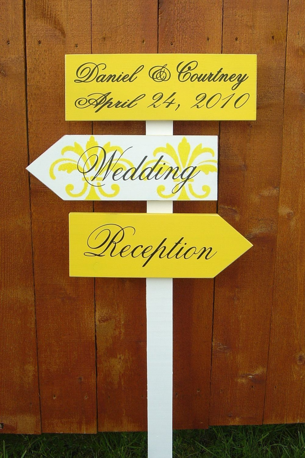 wedding reception directions card%0A Wedding Direction Signs with Arrows with Damask Pattern  Handmade  Custom  Wooden Signs for your