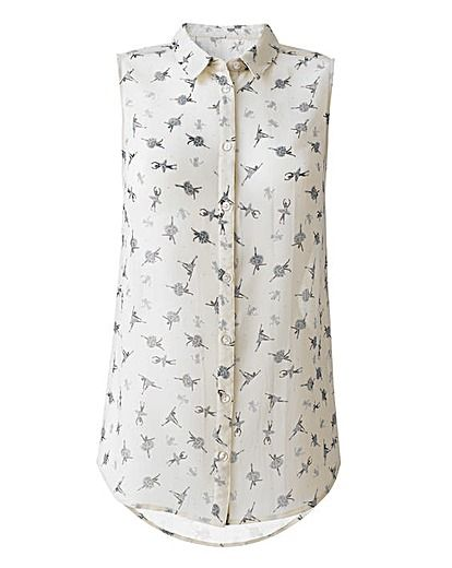 Ballerina Print Shirt With Dipped Hem
