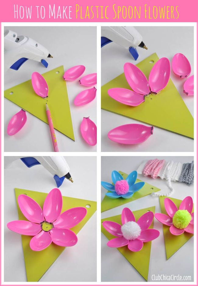 Easy spring flower plastic spoon garland craft idea and for Craft plastic