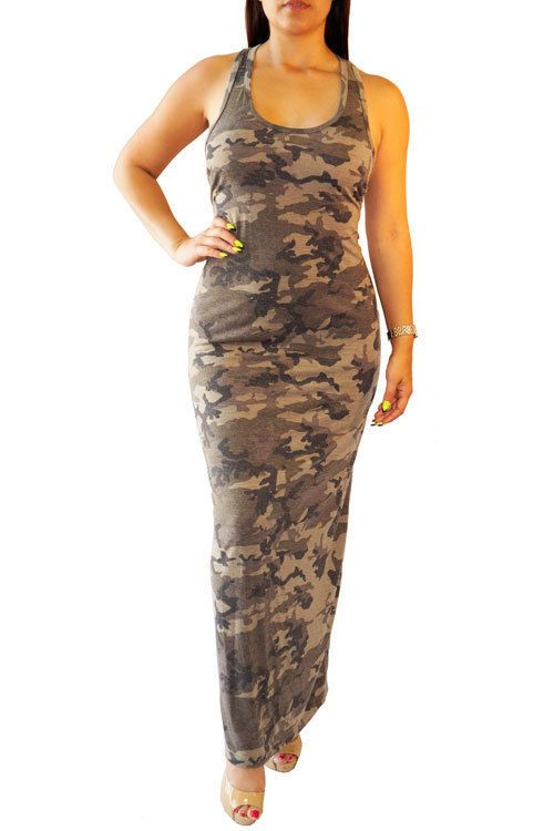 2f0452c99ed SEXY MULTI COLOR CAMO MILITARY USA RACER BACK SOFT TANK MAXI DRESS S M L   WearItLikeADiva  Maxi  Casual