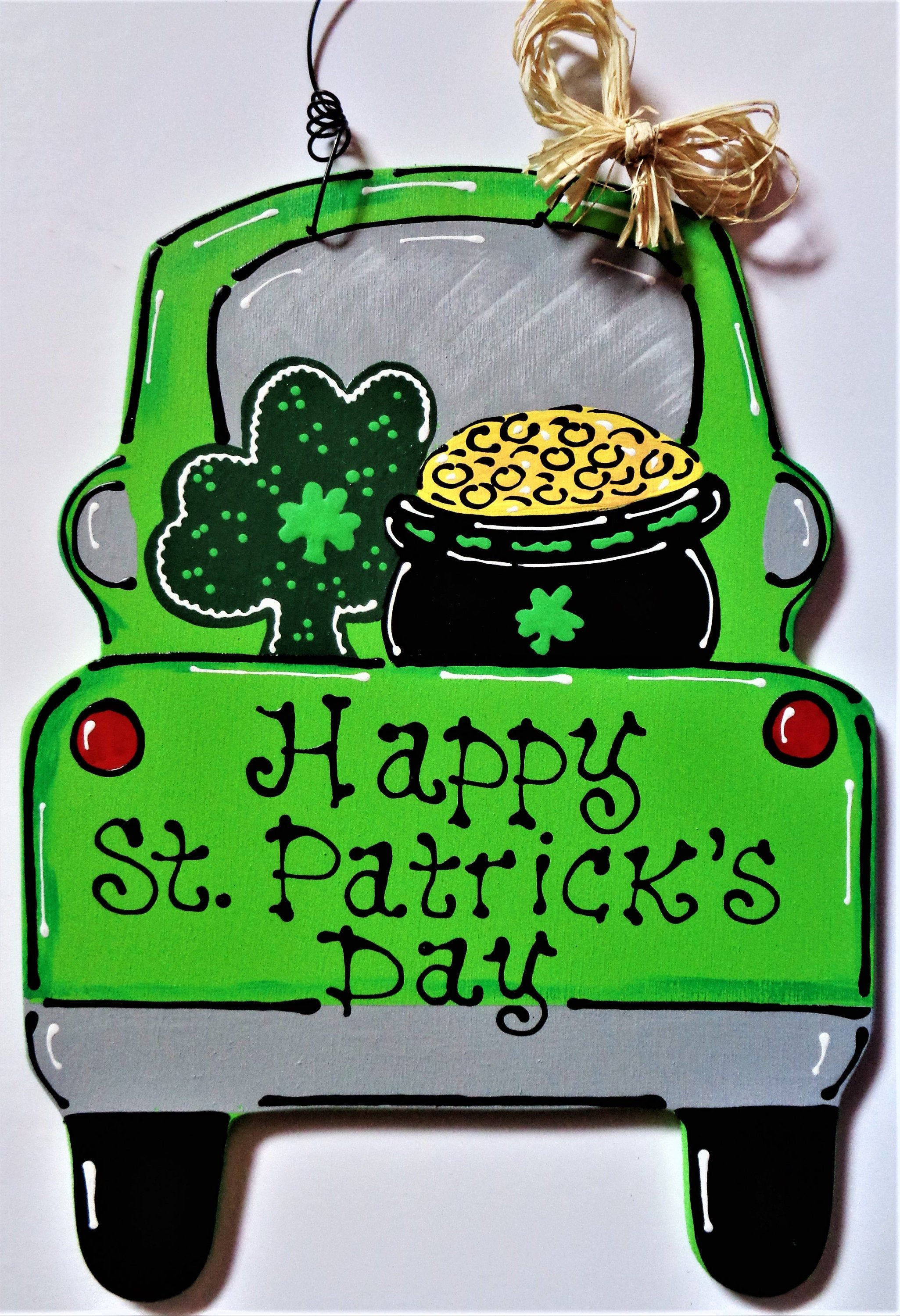 Happy st patricks day vintage style truck sign wall door