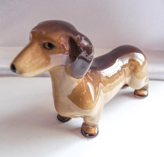 English Miniature Dachshund Puppy Dog Figurine By Midwinter