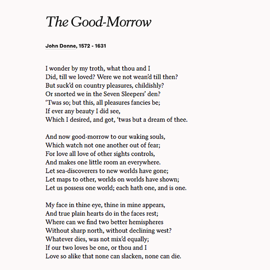 Read John Donne S Poem The Good Morrow With Your Loved One On Your Wedding Or Anniversary Wedding Poems Poems John Donne Poems